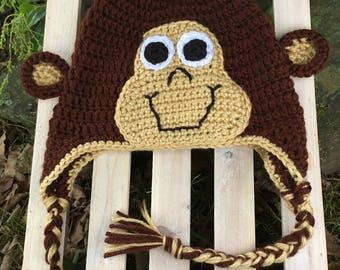 Monkey Handmade Crochet Hat Infant Toddler Child Teen Adult