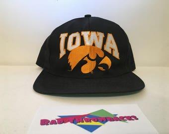 Vintage 1990s University of Iowa Hawkeyes Big Logo Black Snapback Hat