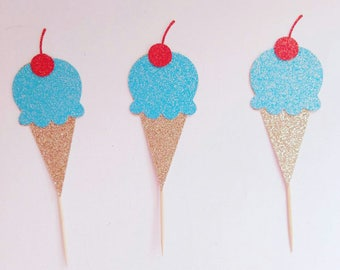 Ice cream birthday, ice cream toppers, cupcake toppers, summertime