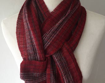 Red #2 Handwoven scarf