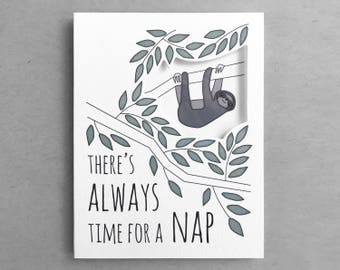 Card for friend   Sleeping sloth Cute sloth Sloth card Sloth quote Card for her Sloth nap card Cute sloth Friendship card