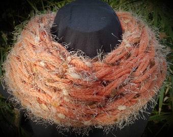 Orange an Beige Baby Alpaca an premium Merino wool scarf