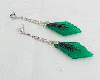 Art Deco Vintage Czech Drop Earrings Art Nouveau  Earrings