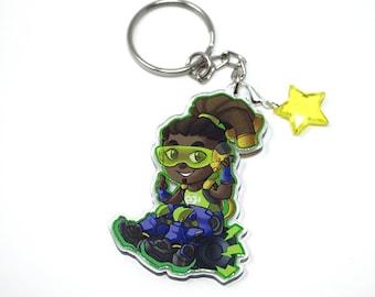 """2"""" Overwatch inspired Lucio fanart keychain charm"""
