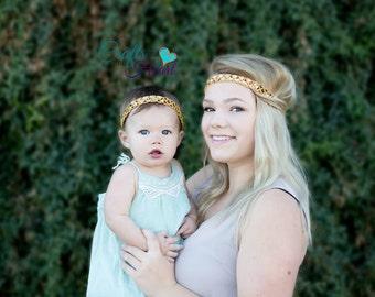 Mommy and Me Headbands - Boho Headbands - Bohemian Headband - Womens Headband - Hippie Headband - Halo Headband - Matching Headbands - Gold