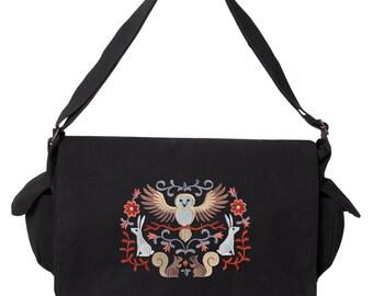 Folksy Crest, Owl Laptop Bag, Bunny Bag, Rabbit Bag, Squirrel Messenger Bag Embroidered Canvas Cotton Messenger Bag