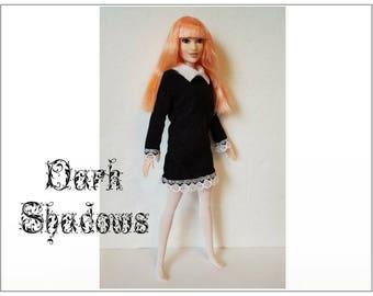 Barbie / Fashionistas Doll Clothes - DARK SHADOWS - Goth Dress and Pantyhose - Handmade Fashion by dolls4emma