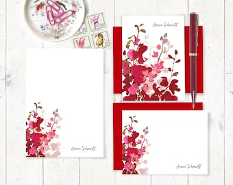 complete personalized stationery set - RED WATERCOLOR ORCHID - folded and flat cards - notepad - red orchid - pink orchid - gift set