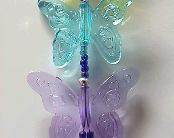Rainbow of Fancy Butterflies Beaded Fan or Light Pull Single