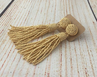 Gold beaded tassel earrings, bridesmaids gift, clip on earrings, wedding earrings, gift for her, statement jewelry, dangle earrings