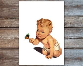 Kindergarten Geschenk - Baby Mädchen Kunstdruck - für Mama-Baby mit Schmetterling Kunst Druck Baby junge Plakatkunst NEWBORN Geschenk