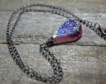 Purple Bohemian Druzy Pendant Necklace, Titanium Plated Druzy Quartz, Rustic Jewelry, Oxidized Copper, Gypsy, Hippie, Handmade Artisan Gifts
