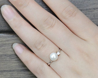 Genuine Pearl ring,cz engagement rings,anniversary ring,cheap wedding rings for women,eternity ring,sterling silver 925 open ring jewellery