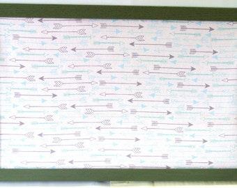 Gray and Blue Arrow Cork Board Pewter Gray Wood Frame Fabric Covered Bulletin Board 17x11 Tack Board Message Board Cork Photo Board