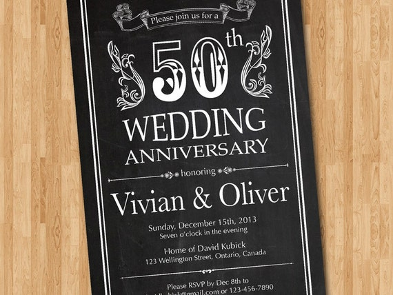 Chalkboard th wedding anniversary invitation th th th