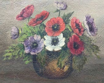 Old Antique Original Artist Signed Floral Still Life Oil Painting Flowers Vase