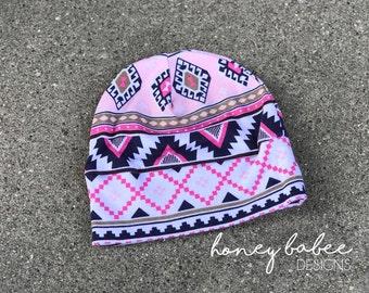 Aztec Slouchy Kid Beanie - Baby Girl Slouchy Beanie - Toddler Beanie - Pink, Blue, White Beanie - Baby Girl - Girl Hat