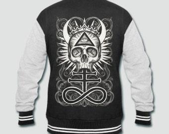 Illuminati Skull with Leviathan Cross varsity jacket jmQTs