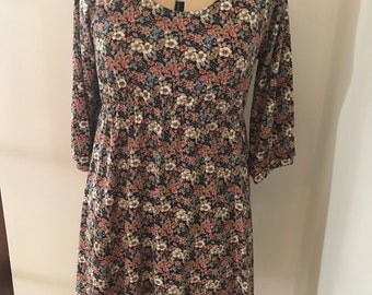 Vintage 90's Floral Dress Babydoll Grunge Skater Dress Boho Festival