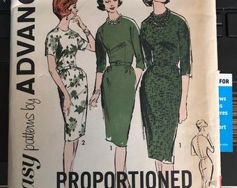 Vintage 50s Advance 2726 Dress Pattern-Size 12 (32-25-34)