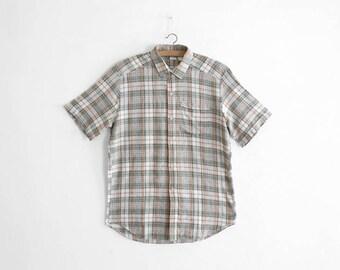 Vintage Mens Cotton Flannel Summer Shirt