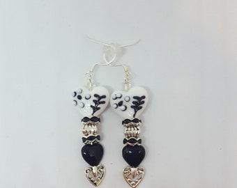 Lampwork Onyx Earrings, Heart Earrings, Filigree earrings, Black and White Earrings