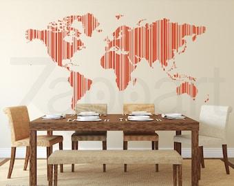 World Map Stripe Barcode Wall Decal