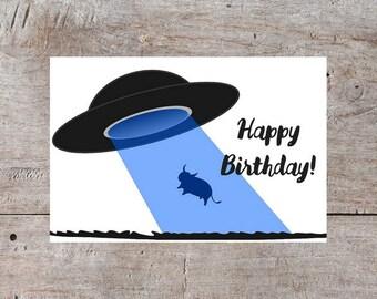 UFO Birthday Card, Cow UFO Birthday Card, Funny Birthday Card, Cute Birthday Card, Hilarious Birthday Card, Printable Birthday Card