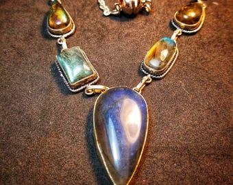Labradorite Necklace Sterling Silver Gemstone