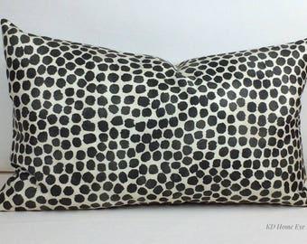 Charcoal Lumbar Pillow Cover, Modern Pillow Cover, Designer Pillow, Genevieve Gorder Puff Dotty Onyx Pillow Cover, Decorative Pillow Cover