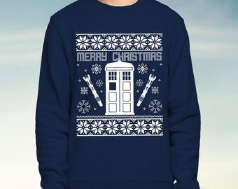 Dr Who Tardis - Blue Christmas Jumper / Sweatshirt