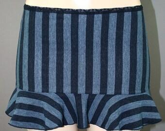 Blue Striped Steampunk Flounce Mini Circus Skirt