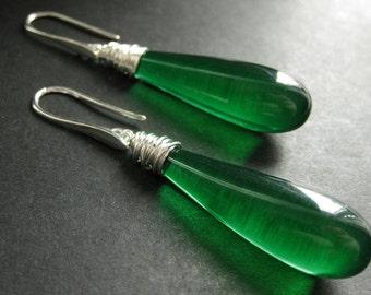 Long Earrings. Green Earrings. Extra Long Dangle Earrings Wire Wrapped Teardrop Earrings in Silver. Handmade Jewelry.