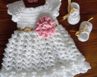 Baby Easter Dress, White Dress ,Infant Baby Dress Set, MADE TO ORDER White, Gold and Pink Baby Dress Set, Handmade  Dress Set, Baby Gift