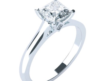 Solitaire Engagement Ring Princess Cut 14K 18K Gold Platinum Palladium 1ct 5.5mm 1.75ct 6.5mm 2.2ct 7mm