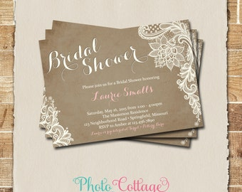 Vintage Bridal Shower Invitation, Lace Invitation, Lace Invitations, Bridal Shower Invites, Invitation, BS124