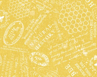 Half Yard Fabric-A Bees Life-Gold Yellow Tonal Words