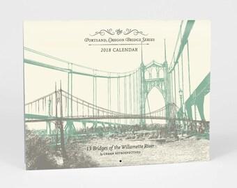 ON SALE!! -- 2018 Portland Bridge Calendar - Willamette River Majestic Crossings in Portland Oregon