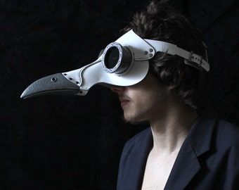 Icarus  Plague Doctor Mask in white Steampunk