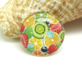 1 cabochon 30 mm glass round Summer Fruits - 30 mm