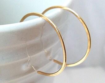 Small Hoops, Gold Filled Hoop Earrings, Gold Reverse Hoop Earrings - 1 Inch Diamter