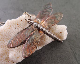 Silver dragonfly pendant, handmade eco friendly fine silver maple seed pod wing insect-OOAK