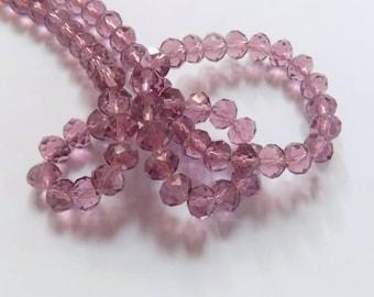 Purple plum transparent 4mmx6mm glass facet 20 beads