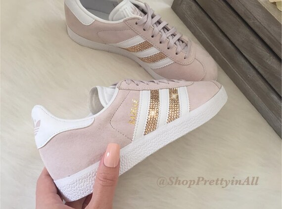 Custom Adidas Gazelle with Rose Gold Swarovski Crystals on Stripes