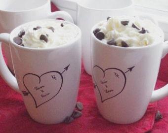 Christma Holiday Couples Gift, Mug Personalized Gift, Mr and Mr Sweetheart Heart Personalized Mugs (set of 4)