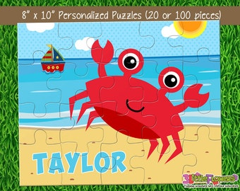 "Crab Puzzle - Personalized 8"" x 10"" Puzzle - Personalized Name Puzzle - Personalized Children Puzzle - 20 pieces puzzle"