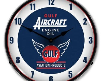 "Antique Style "" Gulf Aircraft Engine Oil "" Backlit Clock"