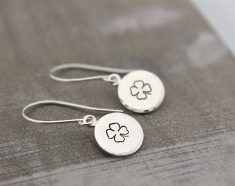 Four Leaf Clover Earrings - Sterling Silver Dangle Earrings - Shamrock Earrings - Jewelry Sale