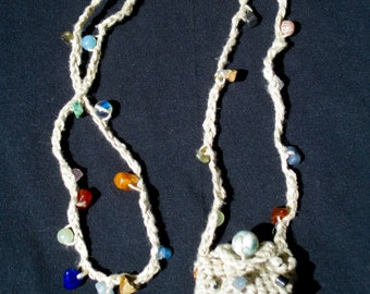 Medicine Bag Necklace - Crocheted Organic Hemp and Semi-Precious Stones