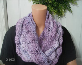 Crochet Infinity Scarf in Pretty Fan Stitches in a marbled lavender